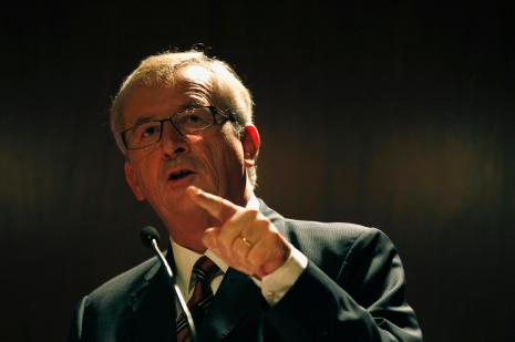 Eurogroup President and Luxembourg PM Juncker gives a lecture at the Calouste Gulbenkian Foundation in Lisbon