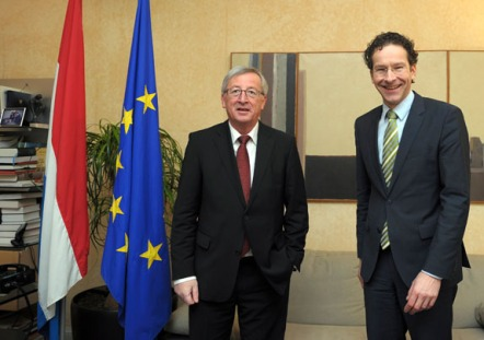 Luxembourg's PM and Eurogroup Chairman Juncker meets with Netherlands' Finance Minister Dijsselbloem in Luxembourg