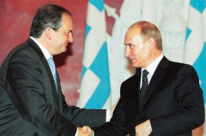 Greece's Prime Minister Costas Karamanlis meets Russia's President Vladimir Putin in Moscow