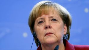 Germany's Chancellor Angela Merkel holds a news conference at a European Union leaders summit in Brussels