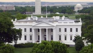 The White House is seen in front of the Washington Monument and the Jefferson Memorial in Washington