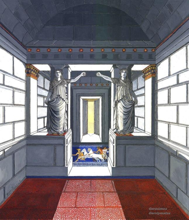 Α' Έγχρωμη αναπαράσταση της «Πύλης των Καρυατίδων», υπό κλίμακα. Λάδι-χαρτόνι, 64Χ53