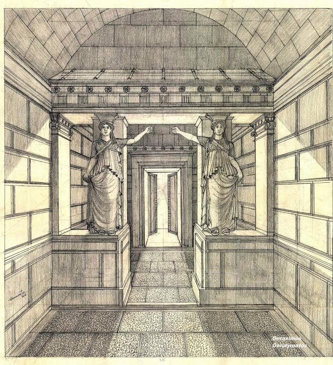 Σχεδιαστική αναπαράσταση της «Πύλης των Καρυατίδων», υπό κλίμακα. Μελάνι-μολύβι, 65Χ53
