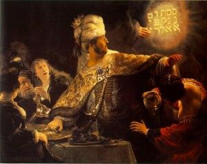 «Το συμπόσιο του Βαλτάσαρ», από τον Ρέμπραντ. Χρονολογείται στο 1635 και εκτίθεται στην Εθνική Πινακοθήκη του Λονδίνου.
