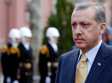 Turkey's Prime Minister Tayyip Erdogan arrives at a welcoming ceremony in Ankara
