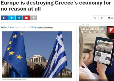 Washington Post Η Ευρώπη καταστρέφει την Ελλάδα χωρίς λόγο (1)