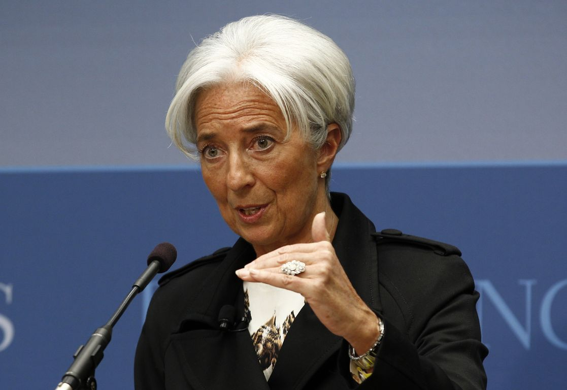 """International Monetary Fund Managing Director Christine Lagarde speaks at the Brookings Institution on """"Seizing the Moment: Thinking Beyond the Crisis"""" in Washington"""