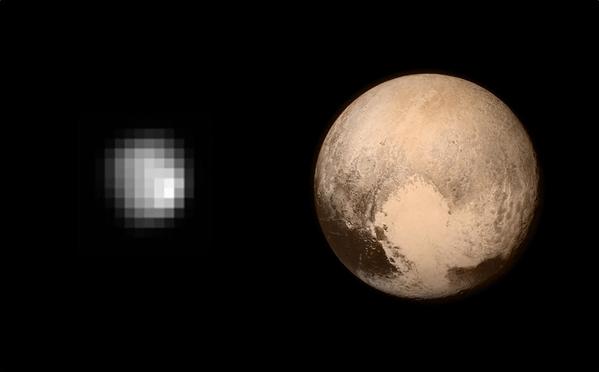 Αριστερά είναι η καλύτερη φωτογραφία του Πλούτωνα που είχαμε μέχρι τις 08/07/2015 και δεξιά η νέα φωτογραφία που έστειλε στη Γη το διαστημικό σκάφος 6 μέρες!