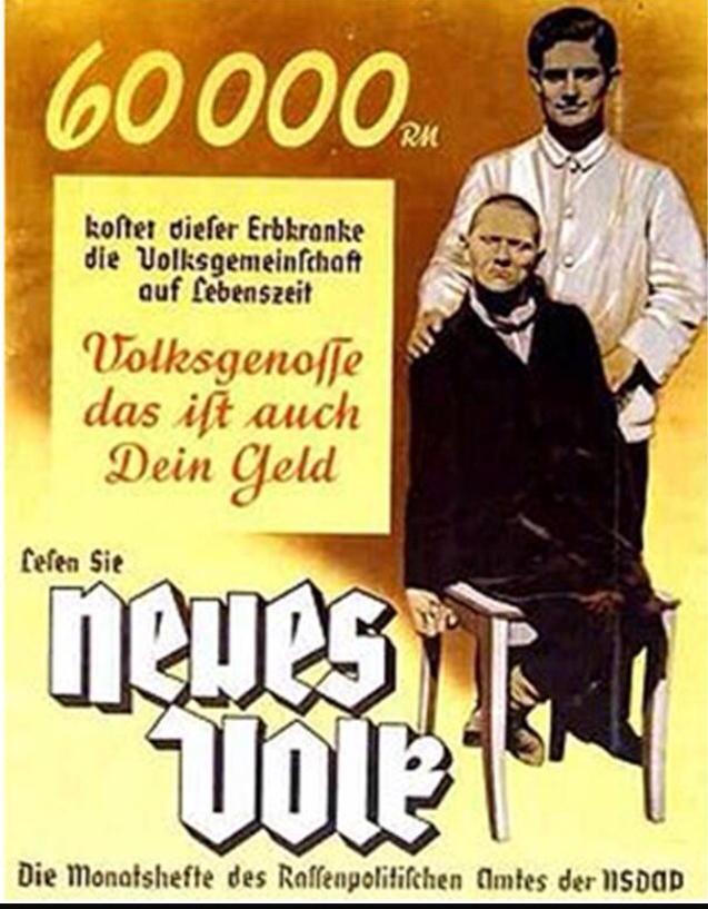 """ΜΕΤΑΦΡΑΣΗ """"60.000 ReichsMark κοστίζει αυτό το άτομο σε όλη την ζωή του στην κοινότητα των Γερμανών. Αγαπητέ συμπολίτη αυτά είναι και δικά σου λεφτα"""""""