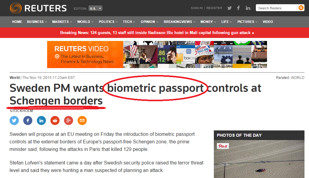 Sweden PM wants biometric passport controls at Schengen borders