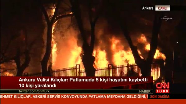 BREAKING NEWS: Massive explosion near Turkey's parliament. Scores of casualties reported. #BREAKING Ankara Governor: 5 dead 10 injured in #Ankara explosion.