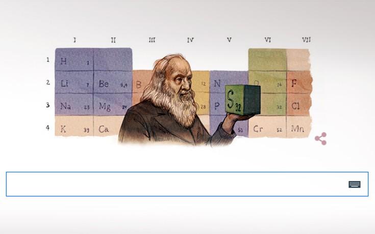 Ο Ντμίτρι Μεντελέγιεφ, ο Ρώσος χημικός «πατέρας» του Περιοδικού Πίνακα, στο doodle της Google