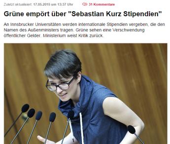 Grüne empört über Sebastian Kurz Stipendien