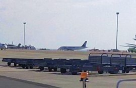 First image of hijacked EgyptAir AirbusA320 flight MS181 on Airport Larnaca in Cyprus.