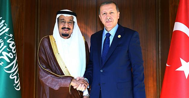 President of Turkey Recep Tayyip Erdoğan (R) meets with Saudi King Salman bin Abdul Aziz Al Saud (L) before the upcoming G20