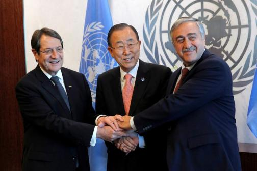Cyprus' President Nicos Anastasiades and Turkish Cypriot leader Mustafa Akinci attend a meeting with United Nations Secretary-General Ban Ki-moon at the United Nations in Manhattan, New York, U.S.