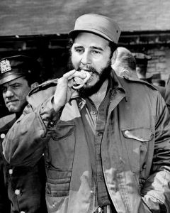 UNITED STATES - APRIL 24: Fidel Castro takes a bite out of a hot dog at the Bronx Zoo. (Photo by Hal Mathewson/NY Daily News Archive via Getty Images)