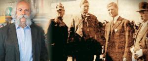 image Ο Λούης Τίκας (τρίτος από αριστερά) με το άστρο του αρχηγού των ανθρακωρύχων φωτογραφίζεται με εκπροσώπους του Ροκφέλερ