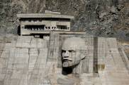"A bas-relief depicting Soviet state founder Vladimir Lenin is seen on a dam of Kirov Reservoir in Talas region, western Kyrgyzstan, September 4, 2017. REUTERS/Shamil Zhumatov SEARCH ""REVOLUTION RUSSIA"" FOR THIS STORY. SEARCH ""WIDER IMAGE"" FOR ALL STORIES."