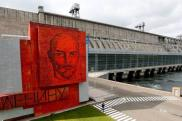 A cobalt glass mosaic panel with a portrait of Soviet state founder Vladimir Lenin is seen at the Krasnoyarsk on the Yenisei River outside the Siberian city of Krasnoyarsk,