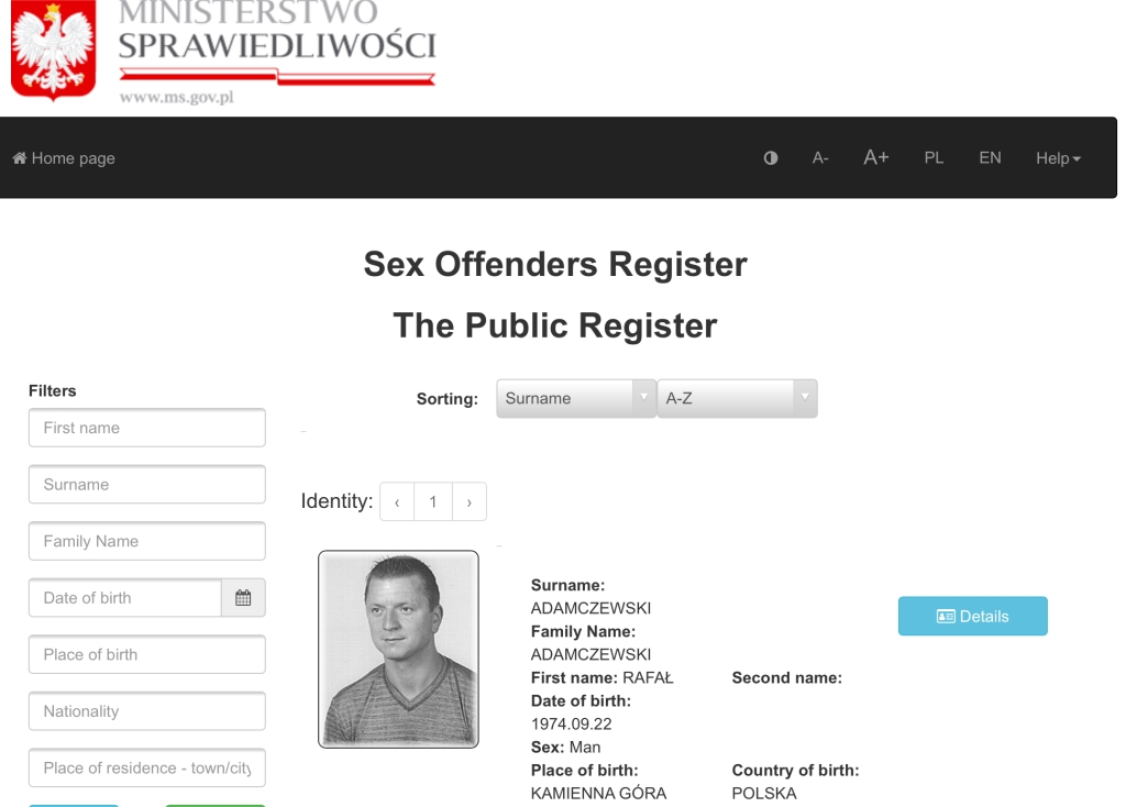 POLAND SEX OFFENDERS LIST