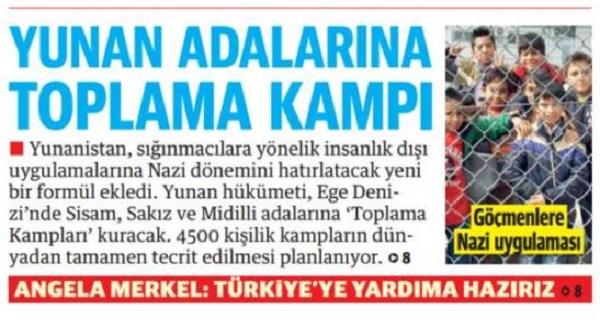 """Νέες αισχρές τουρκικές προκλήσεις -Yeni Safak: """"Στρατόπεδα συγκέντρωσης στην Ελλάδα για τους πρόσφυγες"""""""