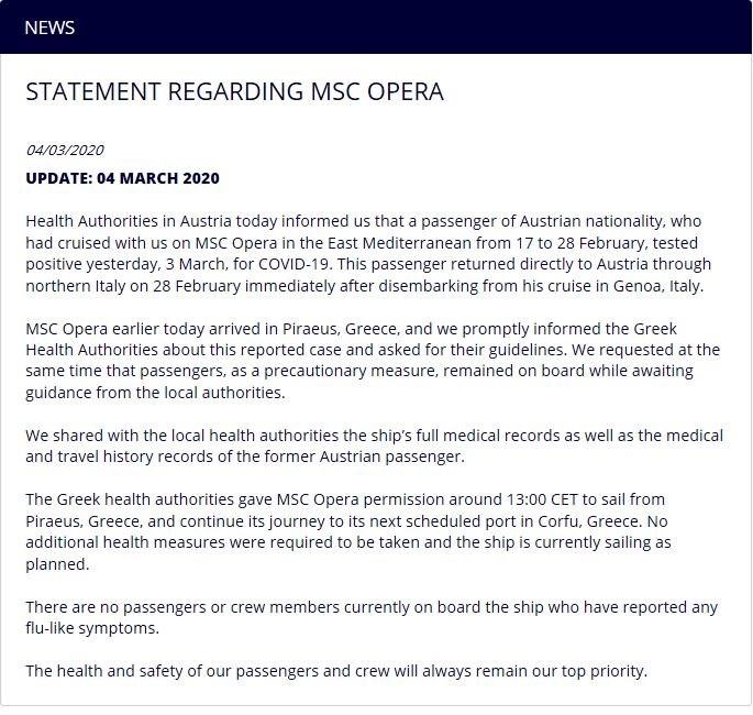 Κορονοϊός: Η ανακοίνωση της MSC για το κρουαζιερόπλοιο.