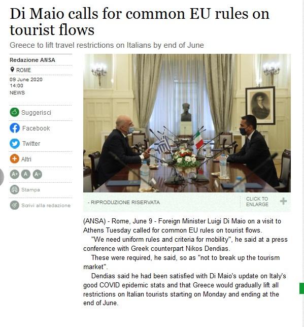 Screenshot_2020-06-09 Di Maio calls for common EU rules on tourist flows - English