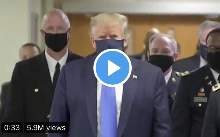 Το βίντεο με τον πρόεδρο Τραμπ να φοραει μάσκα για τον Κορωνοϊο.
