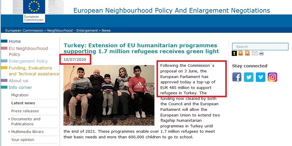 Turkey Extension of EU humanitarian
